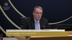 Screengrab of Sinn Fein TD Brian Stanley, chairman of the Public Accounts Committee (Oireachtas TV/PA).