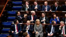 Taoiseach Leo Varadkar with other members of the Fine Gael party during the first sitting of the 33rd Dail in Dublin (Maxwell Photography)