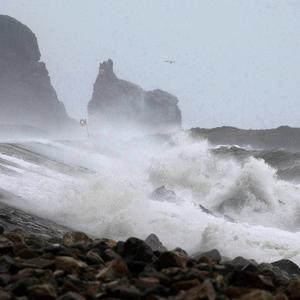 High waves batter Howth Harbour in Dublin