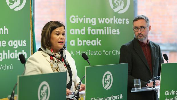 Sinn Fein's Mary Lou McDonald and Eoin O Broin speaking at the launch of the party's General Election manifesto in Dublin (Niall Carson/PA)