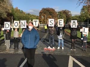Protest against the Mother and Baby Homes records legislation at Aras an Uachtarain