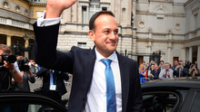 Leo Varadkar waves to wellwishers after being elected as Taoiseach, having beaten Simon Coveney
