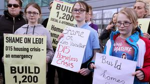 A 'Homes For All' protest outside Fingal Council offices in Dublin (Brian Lawless/PA)