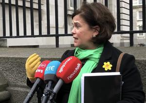 Sinn Fein leader Mary Lou McDonald speaking at Government building in Dublin (Aine McMahon/PA)