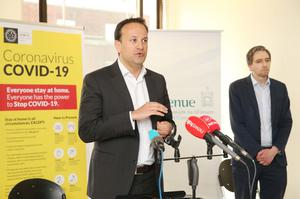 Taoiseach Leo Varadkar TD speaking at a visit to a contact tracing centre in Dublin (Photocall Ireland/PA)