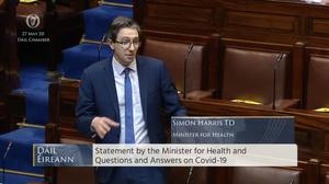 Minister for Health Simon Harris told the Dail that the health service is to examine the issue of easing some visitor restrictions at nursing homes in Ireland.Screenshot from Oireachtas TV.
