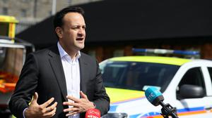 Taoiseach Leo Varadkar speaks to the media during a visit to the Civil Defence Dublin Branch (PA)
