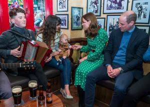 The royal couple in Galway where they enjoyed a traditional session in a pub