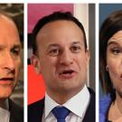 Micheal Martin, Leo Varadkar and Mary Lou McDonald (PA)