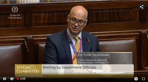 Chief medical officer Tony Holohan appears before the special Covid-19 committee (Special Covid-19 Oireachtas committee/PA)