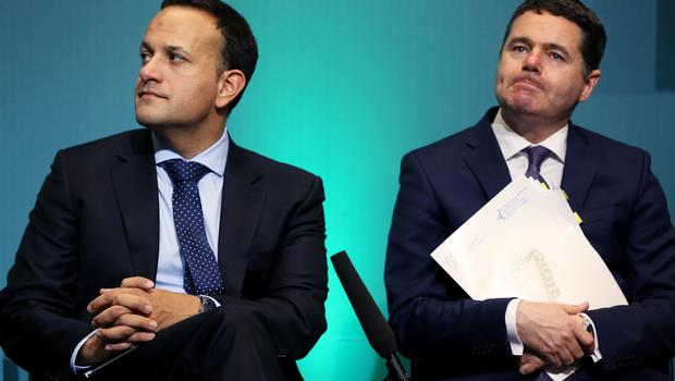 Leo Varadkar and Minister for Finance Paschal Donohoe at the launch of the Project Ireland 2040 funds in Government Buildings, Dublin (Brian Lawless/PA)