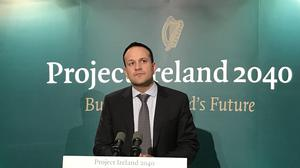 Taoiseach Leo Varadkar speaking after the launch of Project Ireland 2040 (Michelle Devane/PA)
