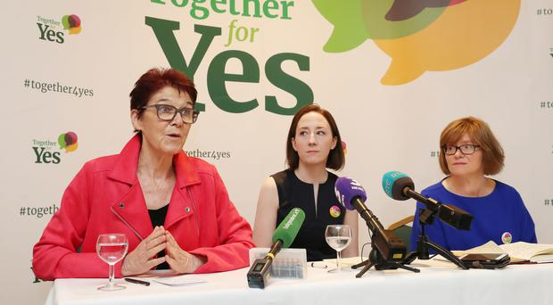 The three former co-directors of Together For Yes (left to right) Ailbhe Smyth, Grainne Griffin and Orla O'Connor (Niall Carson/PA)