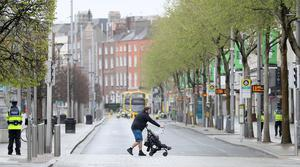 An almost deserted O'Connell Street in Dublin's city centre (Brian Lawless/PA)