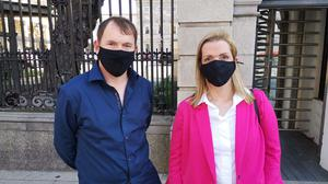 People Before Profit TD Gino Kenny and CervicalCheck campaigner Vicky Phelan outside Leinster House on Monday.Mr Kenny is tabling the Dying with Dignity Bill in the Dail on Tuesday.Picture supplied by People Before Profit.