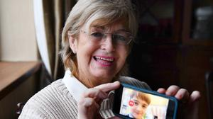 Mary Dunne, 78, from Ardee, Co Louth, talks to grandson Jack, 11, over Zoom as part of Louth County Council's 'Superconnectors' initiative (Ken Finegan/Newspics)