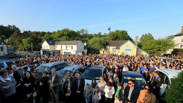 Crowds at a vigil for Jastine in Enniskerry