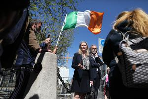 Supporters greet John Waters and Gemma O'Doherty outside the High Court in Dublin (Julien Behal/PA)