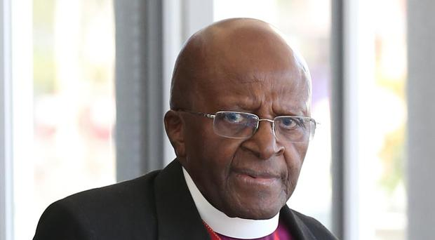 Archbishop Emeritus Desmond Tutu after he was presented with the Order of the Companion of Honour by Prince Harry in South Africa (Chris Radburn/PA)