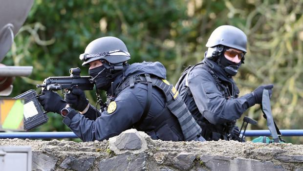 Members of the Garda Emergency Response unit during a multi agency emergency exercise at the Newtownfane Pumping station, in Co. Louth, Ireland.