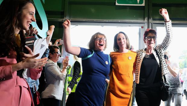 Co-Directors of Together For Yes Orla O'Connor (left) Grainne Griffin (centre) and Ailbhe Smyth (Brian Lawless/PA)