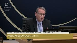 Screengrab from Oireachtas TV of Sinn Fein TD Brian Stanley, chairman of the Public Accounts Committee, apologising for posting a controversial tweet about the IRA murder of 18 British soldiers during the Troubles.