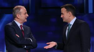 Fianna Fail leader Micheal Martin nad, Fine Gael leader Leo Varadkar during a commercial break in the final TV leaders' debate at the RTE studios in Donnybrook, Dublin.