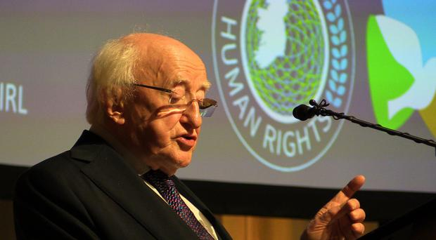 Michael D Higgins delivers a speech to mark the 70th anniversary of the Universal Declaration of Human Rights (Michelle Devane/PA)