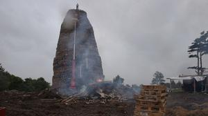 An bonfire under construction in the Ballymacash area of Lisburn