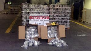 A massive haul of cannabis worth 4.5 million euro stuffed into more than 1,000 tins of olives and bound for the UK (Office of the Revenue Commissioners/PA)