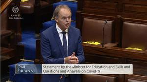 Minister for Education Joe McHugh told the Dail that a cross-departmental working group had been established (Screenshot/Oireachtas TV)