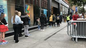 Long queues outside Penneys on Mary Street in Dublin on Friday (Cate McCurry/PA)