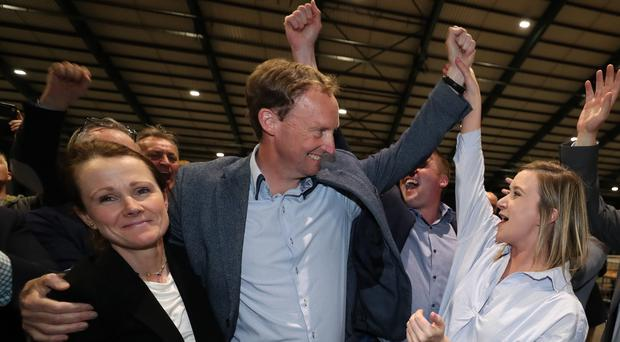 Barry Andrews of Fianna Fail is elected to Dublin Constituency of the European Elections at the RDS (PA)