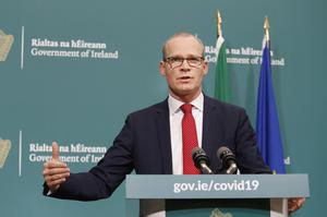 Tanaiste Simon Coveney briefing the media on the latest measures Government departments have introduced in response to Covid-19 (Leon Farrell Photocall Ireland)
