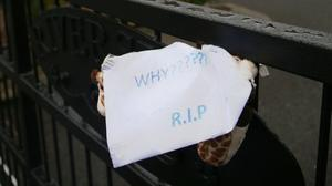 A moving note left on gates outside the complex in Poddle Park where a young boy was found dead with stab wounds