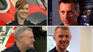 Captain Dara Fitzpatrick, 45, Captain Mark Duffy, 51, and winchmen Paul Ormsby, 53, and Ciaran Smith, 38, all died when their Sikorsky S-92 helicopter crashed into Blackrock island off the coast of Mayo in 2017 (Irish Coast Guard/PA)