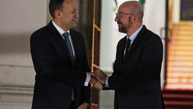 Leo Varadkar and Charles Michel at Government Buildings in Dublin (Brian Lawless/PA)