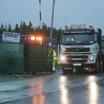 A truck leaves the Corrib gas terminal site in Co Mayo