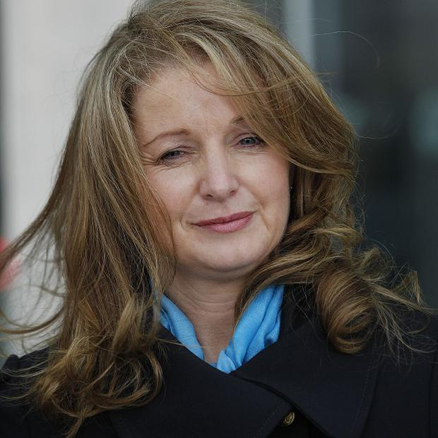 Diane Begley wife of Paul Begley leaving court in Dublin while appeal judges decide by how much to reduce his sentence