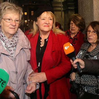 Women from Madalene Survivors Together leaving Leinster House in Dublin after hearing Taoiseach Enda Kenny's state apology