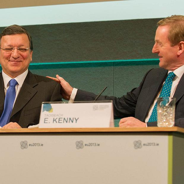 Jose Manuel Barroso, left, and Taoiseach Enda Kenny are holding talks in Dublin