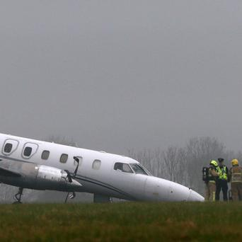 The front wheel of a Bin Air aircraft buckled on landing causing an accident on the runway at Dublin airport