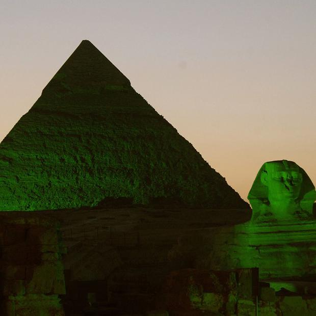 Pyramids and the Sphinx in Giza, Egypt, were lit green for Tourism Ireland's St Patrick's Day celebrations (Tourism Ireland/PA)