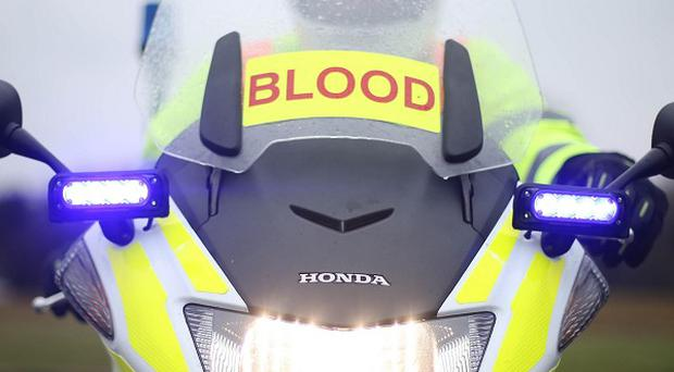 Instructor Ian Duffy on the first of a new set of motorbikes for Dublin's blood courier service