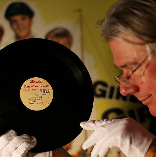 Auctioneer Ian Whyte holds the only known surviving promotional copy of a 1954 recording of That's All Right (Mama) by Elvis Presley