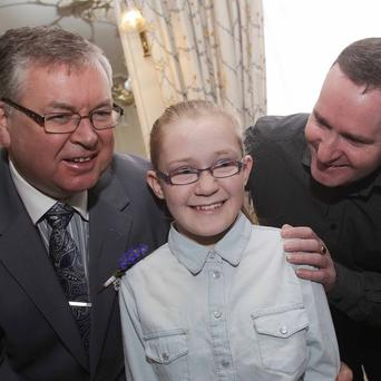 Joe Duffy with 12-year-old Megan Carter and father Eddie (right) at the launch of Organ Donor Awareness Week