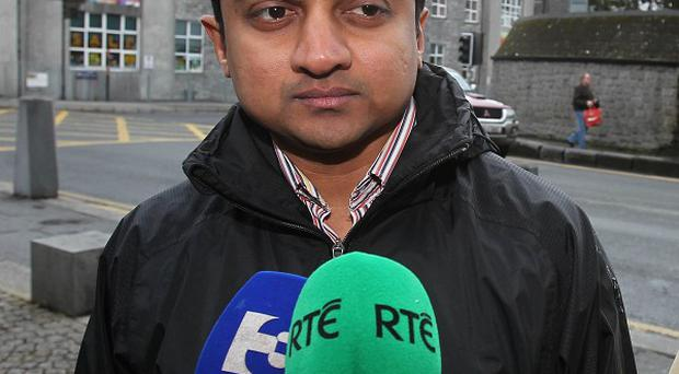 Praveen Halappanavar, the husband of Savita Halappanavar, arrives for the inquest into her death at Galway Coroners Court