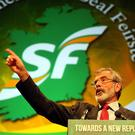 Sinn Fein have jumped five points since the last survey with Gerry Adams now one of the most popular leaders in the Irish Republic.