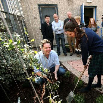 Students from Larkin Community College in the new Garden of Hope designed by celebrity Gardener Diarmuid Gavin