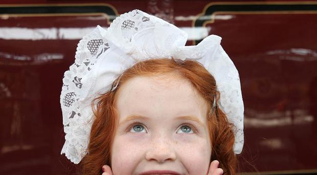 Niamh Fallon, six, from Malahide, unveils the oldest narrow gauge steam locomotive in the world, The Princess